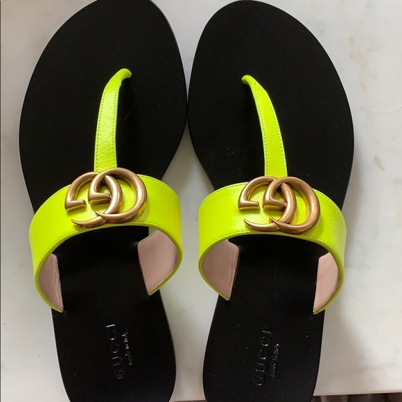 Gucci Shoes   Marmont Slide Neon Yellow